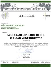 Certified Sustainable Wine of Chile